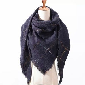 Accessories - NEW Fringe Blanket Scarf Shawl in Multi Color Navy